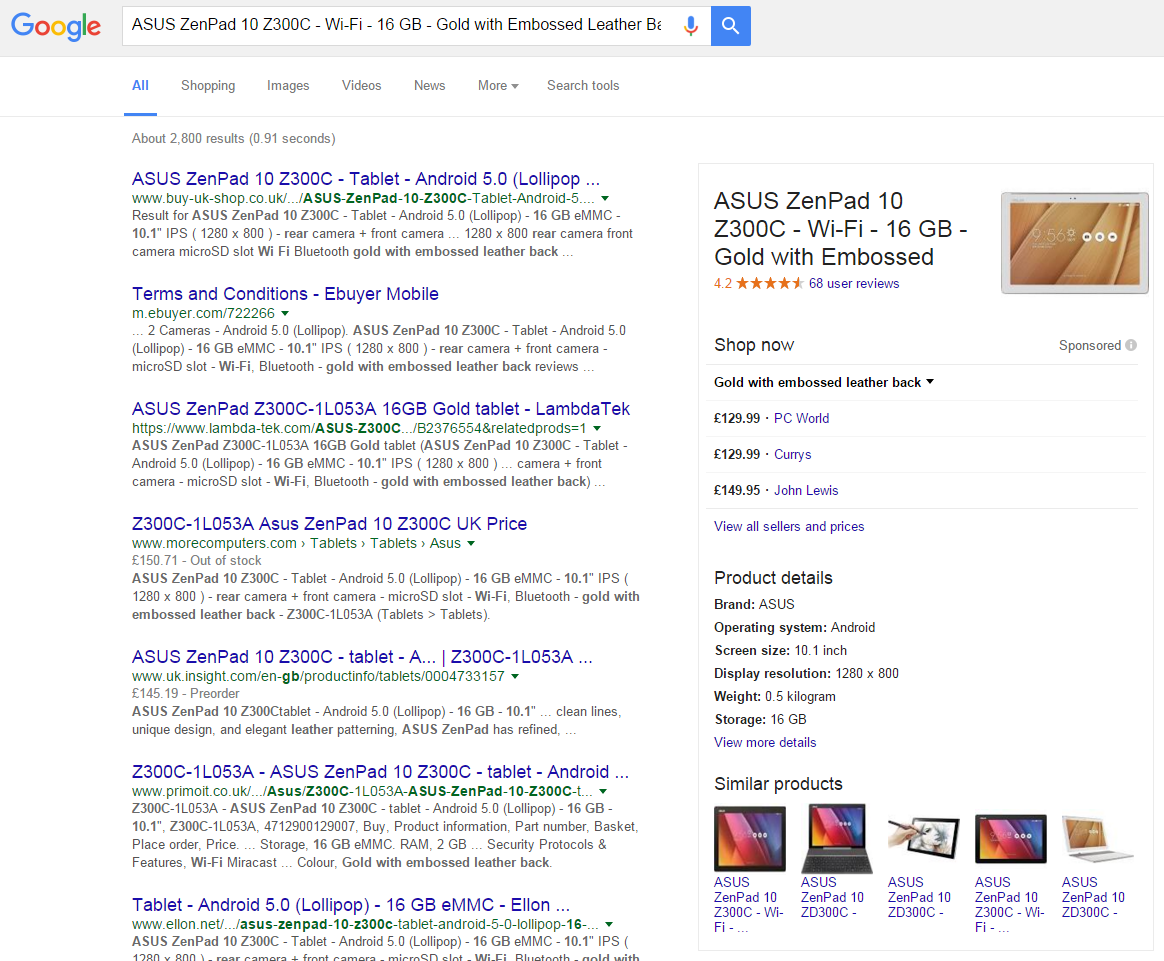 Google Shopping - Product Card Ad Format - Desktop