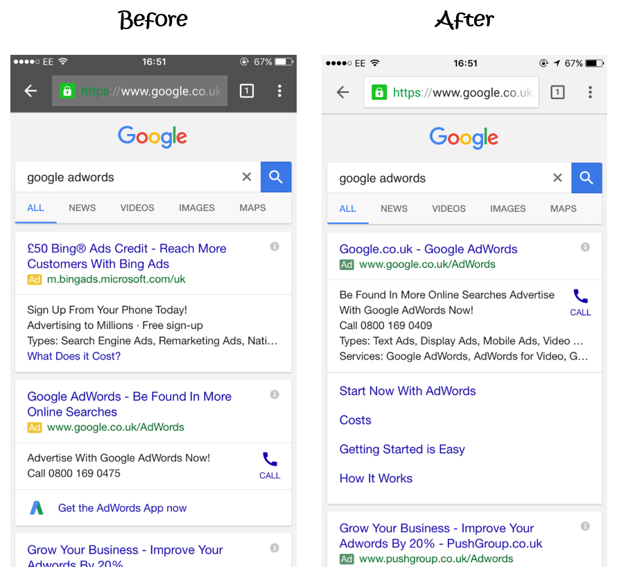 PPC hubbub - Green Ad Label - Before & After (Mobile)