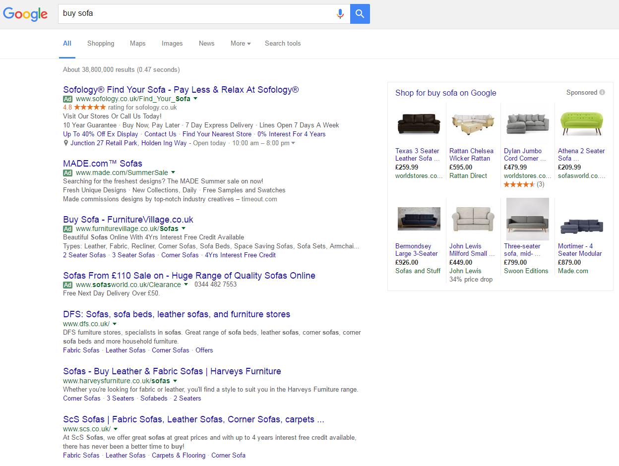 Furniture Village Interest google green ad label | ppc hubbub