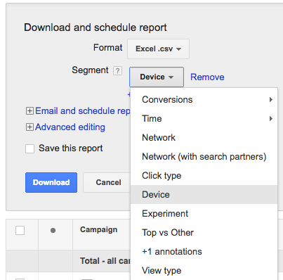 PPC hubbub - Segment by Device - Shop Visit Conversions