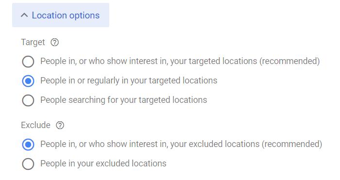 Advanced Location Options Google Ads