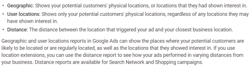 Location Options Reports Google Ads