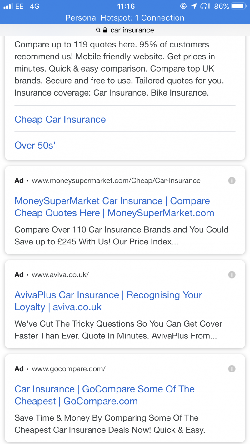 Google Text Ads Truncated - Mobile