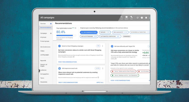 Google Ads Optimisation Score Shopping Campaigns