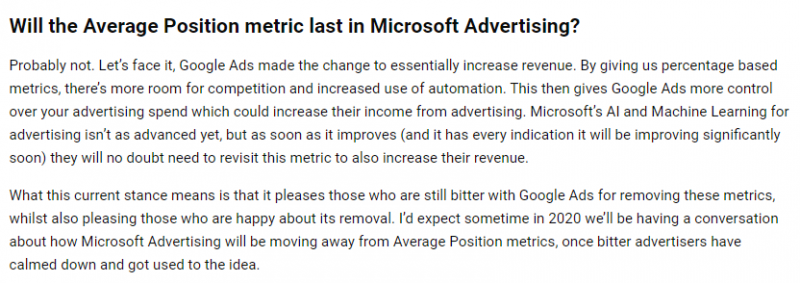 Microsoft Advertising - Average Position PPC hubbub